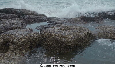 Sea waves breaking on rocks with splashes