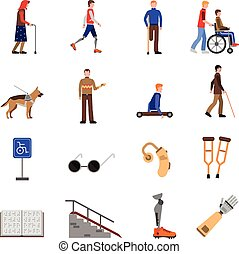 Disabled Handicapped People Flat Icons Set - Disabled people...