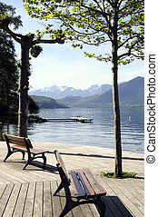 Annecy lake and mountains - Bench in front of Annecy lake...