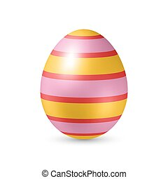 Easter Egg with Strips Texture - Standing Vertically on...