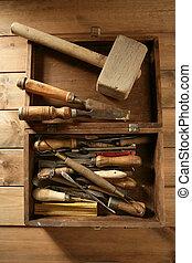 carpenter artist wooden craftman toolbox over wood...