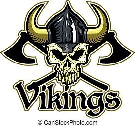 vikings team design with skull and crossed axes for school,...