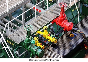 color full valves on fueling ship,