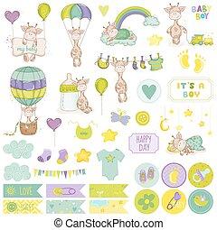 Baby Boy Giraffe Scrapbook Set. Vector Scrapbooking....