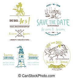 Vector Wedding Vintage Set Save the Date Wedding Card Bridal...