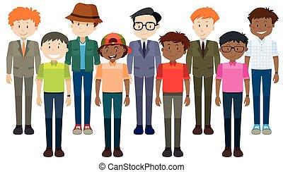 Middle aged men standing illustration