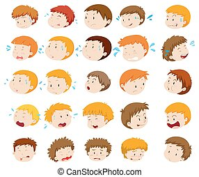Boy heads with expressions
