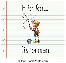 Flashcard alphabet F is for fisherman