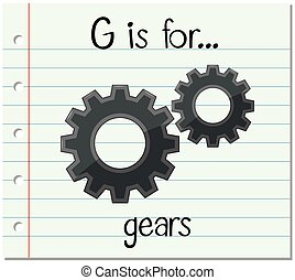 Flashcard letter G is for gears illustration