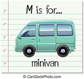 Flashcard letter M is for minivan illustration