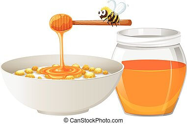 Cereal with honey in bowl illustration