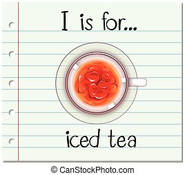 Flashcard alphabet I is for iced tea illustration