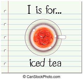 Flashcard alphabet I is for iced tea illustration