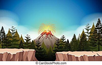 Nature scene with volcano eruption
