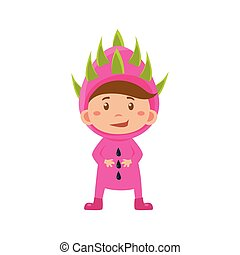 Kid In Lychee Costume. Vector Illustration