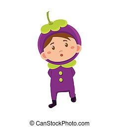 Kid In Mangosteen Costume Vector Illustration - Cute Kid In...