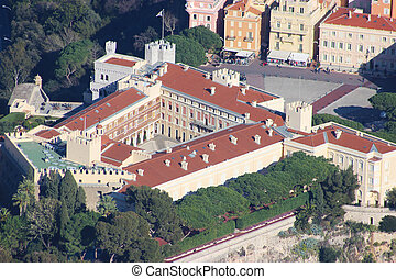 Close-up of the Princes Palace in Monaco Aerial View -...