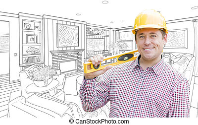 Contractor in Hard Hat Over Custom Living Room Drawing