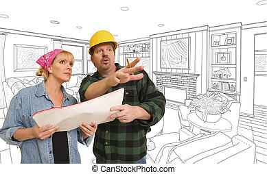 Contractor Talking Plans With Woman Over Custom Living Room Drawing