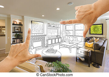 Hands Framing Custom Living Room Drawing Photograph...