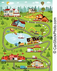 City landscape summer day - Vector illustration - summer...