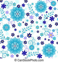 Seamless blue floral pattern (vector EPS 10) - Seamless...