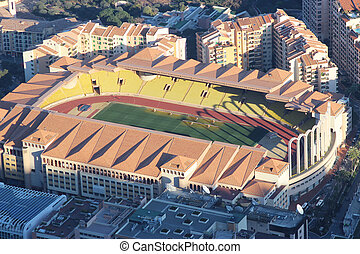 Aerial view of Stade Louis II and Fontvieille - Fontvieille,...