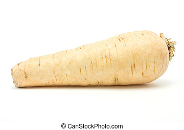 Parsnip - Single whole Parsnip from low viewpoint isolated...