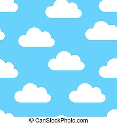 white clouds seamless on a blue background