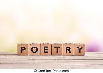 Poetry word made of wooden cubes