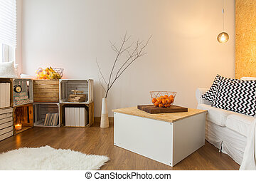 Home sweet home... - Warm living room in modern style with...