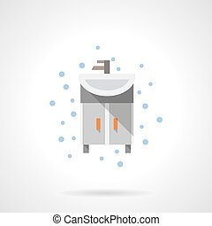 Bathroom washstand flat color vector icon - Gray washstand a...