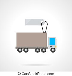 Lorry vehicle with label flat vector icon - Road freight...