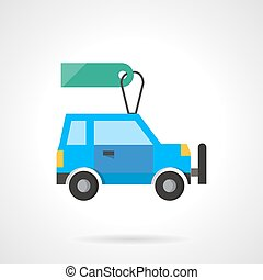 Flat design auto with tag vector icon - Blue car with green...