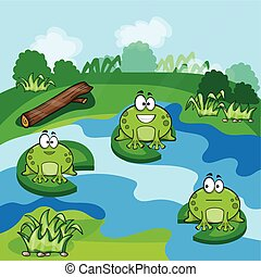 Little frogs in the pond - Cute little frogs having fun in...