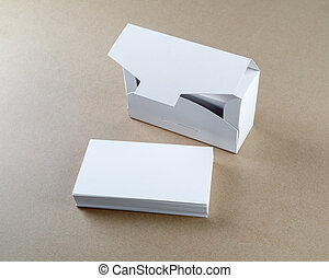 blank business cards - Photo of packing box with blank...