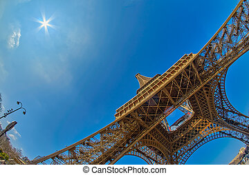 View from the ground on Eiffel Tower in Paris