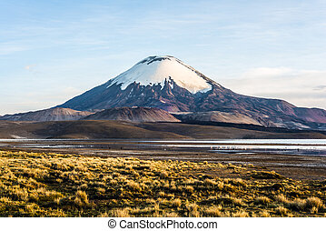 Parinacota Volcano, Lake Chungara, Chile - Snow capped...