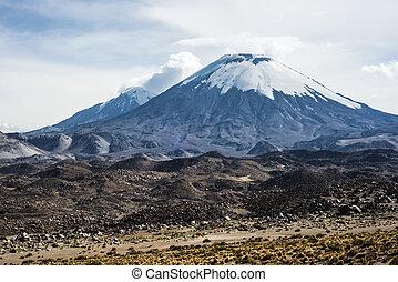arinacota Volcano, Lauca, Chile - Snow capped Parinacota...