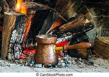 turco, café, cocinado, encima, caliente, CARBONES,