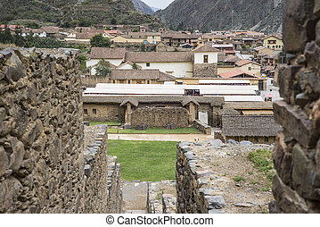 Ollantaytambo - old Inca fortress and town in Peru -...