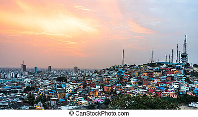 Guayaquil city at sunset - Panoramic photo of Guayaquil city...