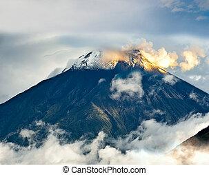 Eruption of a volcano Tungurahua, Cordillera Occidental of...