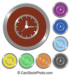 Color clock buttons - Set of color glossy coin-like clock...