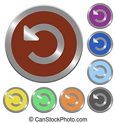 Color undo changes buttons - Set of color glossy coin-like...