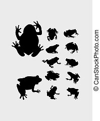 Frog Set Silhouette, art vector design