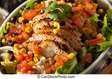 Homemade Mexican Chicken Burrito Bowl with Rice and Beans