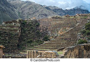 famoso, Ollantaytambo, Pre-Colombino, inca, sitio, en,...