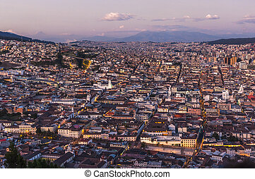 Quito capital city at sunset, Ecuador - Panoramic photo of...
