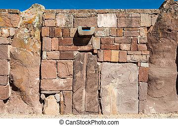 pared, en, Tiwanaku, Titicaca, región, altiplano,...